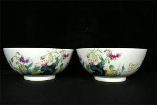 A Pair of Chinese Enamel Glazed Porcelain Bowls