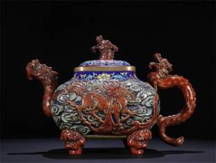 A Chinese Enamel Glazed Porcelain Teapot