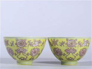 A Pair of Chinese Iron-Red Glazed Porcelain Bowls