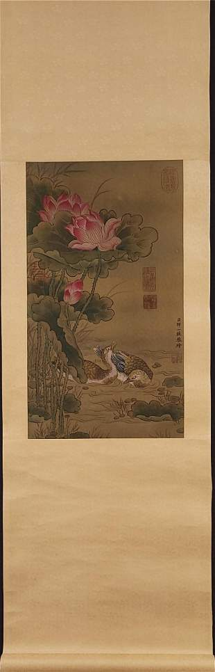 A Chinese Scroll Painting of Flowers and Birds