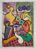 Signed and Stamped Pablo Picasso Mixed Medio on paper