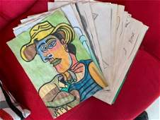 Lot of Signed and Stamped Pablo Piccaso on paper