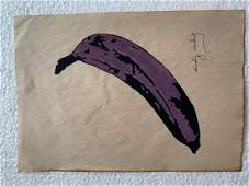 Signed and Stamped Andy Warhol Mixed Media on paper