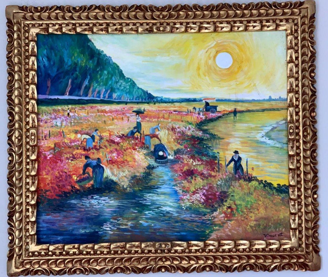 Vincent Van Gogh Oil on Canvas, Signed and Framed