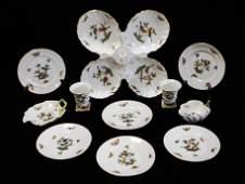 CHINA Herend Rothschild pattern porcelain eleven