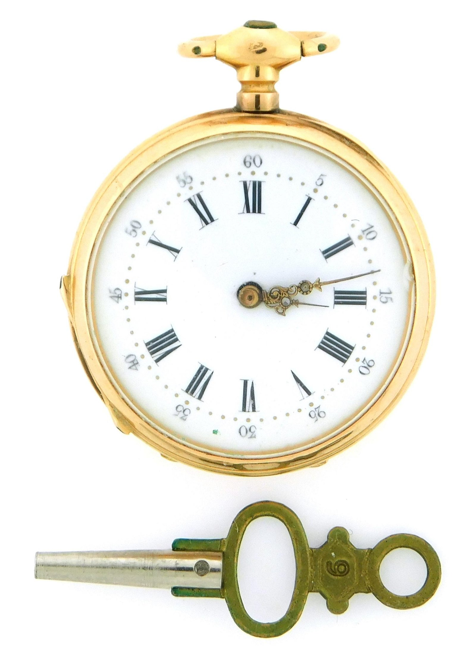 JEWELRY: 18K Pendant Watch with Enamel, open face