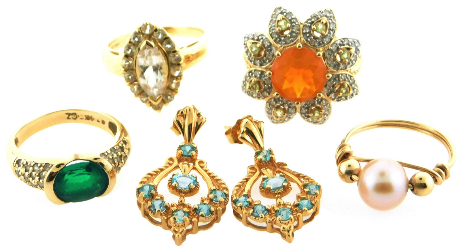 JEWELRY: Five yellow gold pieces, including four rings