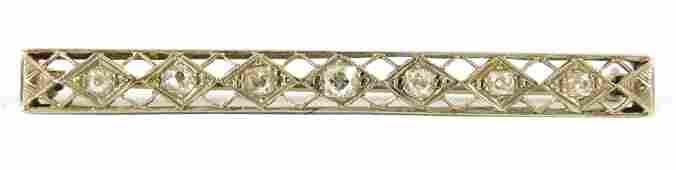 JEWELRY: 14K Diamond Bar Pin, tested 14K white gold,