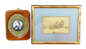 Two framed artworks one miniature watercolor on