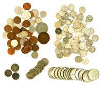 COINS: Fourteen 40% silver halves; fifty-six silver