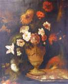 Dutch School Still Life with Flowers on a Marble Ledge