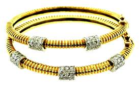 JEWELRY: Matched Pair of 18K Gold and Diamond