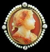 JEWELRY Antique Carnelian Pearl and Diamond Brooch