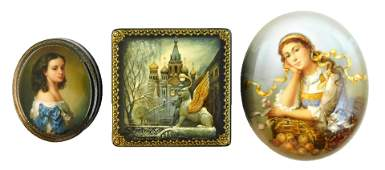 Russian handpainted lacquer boxes three pieces