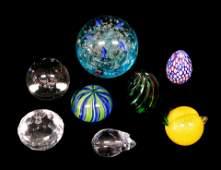 GLASS Contemporary art glass eight pieces lemon