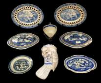 Blue and White porcelain and pottery, including: two