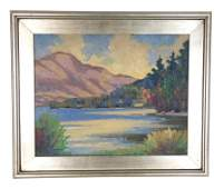 """Herbert A. Steinke, oil on canvas board, """"Lake George"""","""