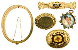 JEWELRY Five gold filled Victorian jewelry items