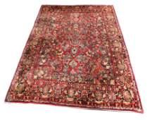 "RUG: Antique Persian painted Sarouk, 11' 8"" x 9',"