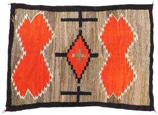 "RUG: Native American Navajo rug, 5' x 3' 9"", wool on"