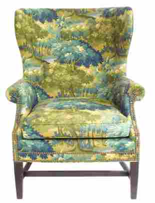 Wing chair by Wesley Hall, Hickory, N.C., late 20th C.,