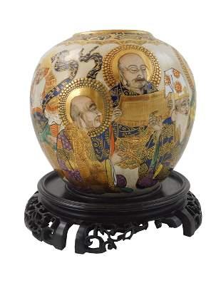 ASIAN: Japanese Satsuma jar, 19th/20th C., polychrome
