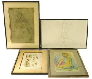 Four signed and framed figure studies including: Ernie