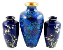 ASIAN: Three cloisonne vases: pair of deep cobalt with