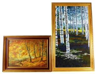 Two 20th C. forest landscape paintings: largest by