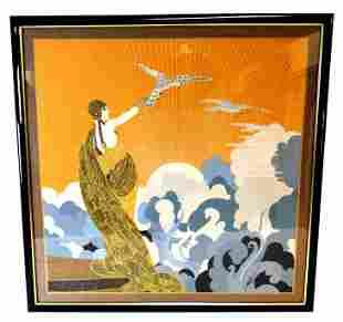 After Erte, framed silk scarf, woman stands atop