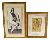 Two framed drawings on paper, including: Thomas R.