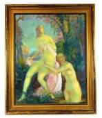 Richard Klein (German, 1890-1967), oil on canvas, two