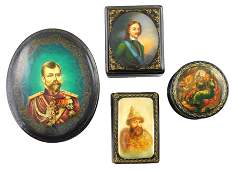 Russian hand-painted lacquer boxes, group of four royal