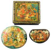 Russian handpainted lacquer boxes group of three