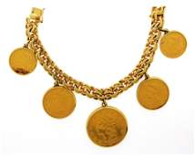 JEWELRY: 14K Gold Coin Bracelet with box safety clasp,