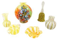 ART GLASS: Six pieces of Venetian glass with yellow,