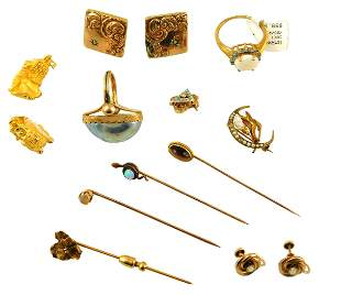 JEWELRY: Twelve pieces of 24K, 14K and 10K yellow gold,