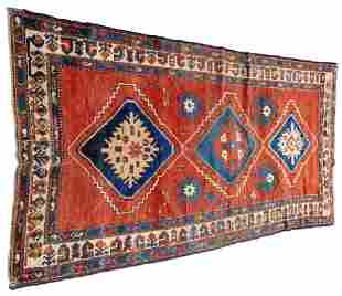 """RUG: Antique Caucasian, 9' x 4'8"""", wool on wool, with"""