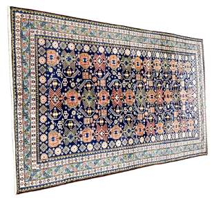"""RUG: Persian tribal, 11'3"""" x 7'3"""", navy field with"""