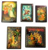 Russian hand-painted lacquer boxes, five with