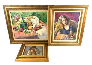 Helen Juchnicki (American, 1917-2012), two portrait