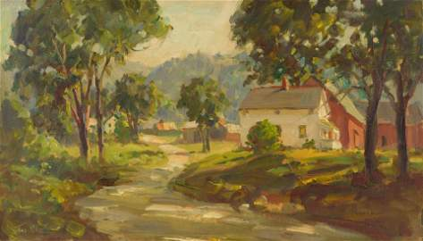 Thomas R. Curtin, oil on canvas, pastoral landscape
