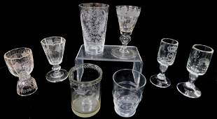 GLASS: Eight blown glasses, mostly European, 19th and