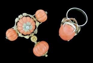 JEWELRY: 18K Coral Brooch and Ring: Victorian coral