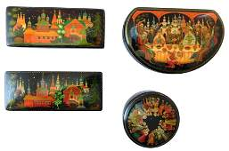 Russian hand-painted lacquer boxes, group of four