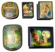 Russian hand-painted lacquer boxes, group of five