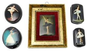 Russian hand-painted lacquer boxes and framed plaque,