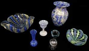 ART GLASS: Six pieces of Venetian glass with latticino