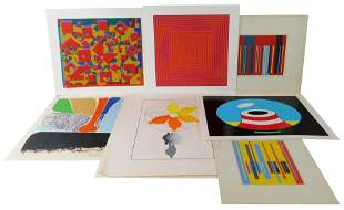 A group of ten contemporary silkscreens and prints by