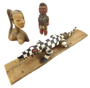 TRIBAL: Three African carved wood items made for the